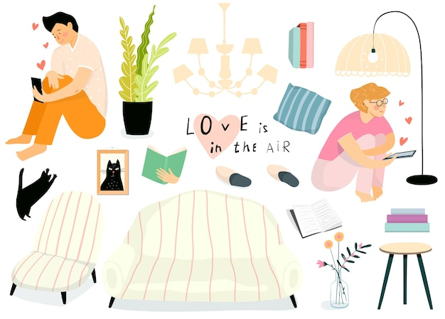 Home interior möbel und objekte sammlung, frau und mann am telefon chatten. isolierte wohnzimmergegenstandssammlung des täglichen lebens mit einem jungen mädchen und einem kerl, die online datieren.