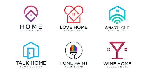 Home kombiniertes logo-icon-set. designvorlage für kreatives hauslogo.