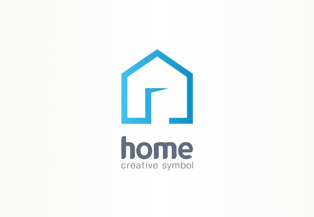 Home kreatives symbolkonzept. offene tür, gebäude betreten, abstrakte geschäftslogo der immobilienagentur. haus innenarchitektur, website-login-symbol. corporate identity-logo, firmengrafik