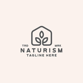 Home leaf natur logo design