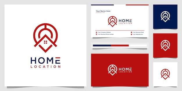 Home location einfaches logo-design mit visitenkarte