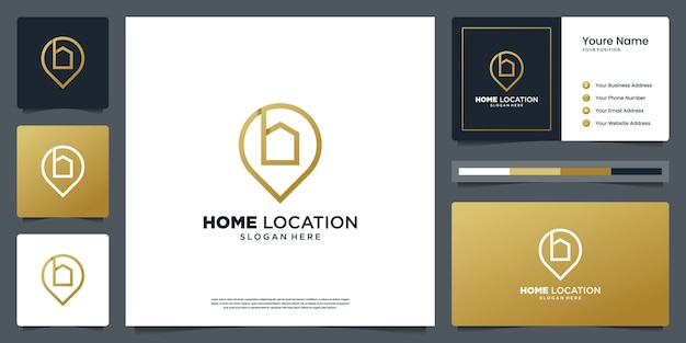 Home location logo design mit kreativem linienstil und visitenkarten-design