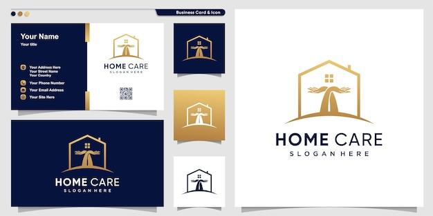 Home-logo mit handpflege im linienkunststil premium-vektor
