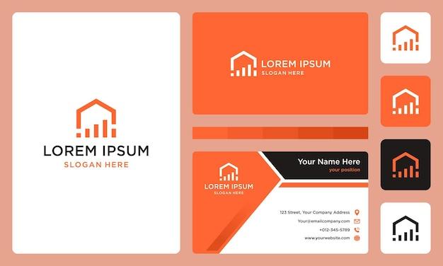 Home-logo mit investment-bar. premium-vektoren. visitenkarte.