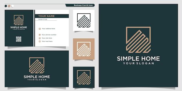 Home-logo mit moderner einfacher linie kunststil premium-vektor
