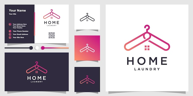 Home logo vorlage mit kleiderhakenkonzept und visitenkartendesign premium vektoren