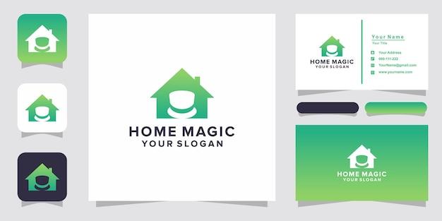 Home magic logo und visitenkarte