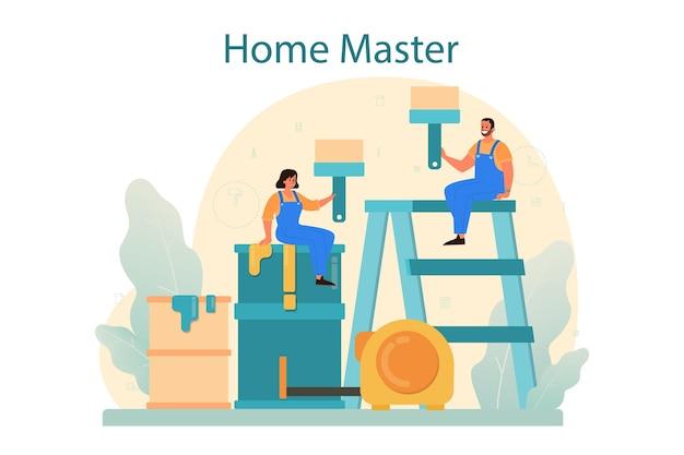 Home master-konzept. handwerker, der veredelungsmaterialien aufträgt. hausumbau, renovierung. hausreparaturservice, tapete, fliesen und wandfarbe.