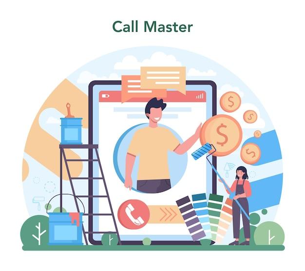 Home-master-online-dienst oder -plattform. handwerker, der veredelungsmaterialien anwendet. hausumbau, renovierung. online-anruf an den meister. isolierte flache vektorillustration