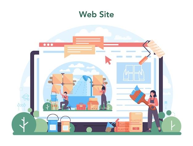 Home-master-online-dienst oder -plattform. handwerker, der veredelungsmaterialien anwendet. hausumbau, renovierung. webseite. isolierte flache vektorillustration