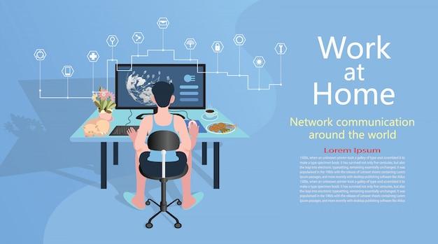 Home office arbeitet zu hause von grafikdesigner moderne wohnung.