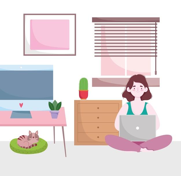 Home-office-arbeitsbereich, frau arbeitet zu hause mit laptop und katze auf kissen.