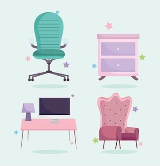 Home office arbeitsplatz sessel schubladen computer lampe und schreibtisch icons set