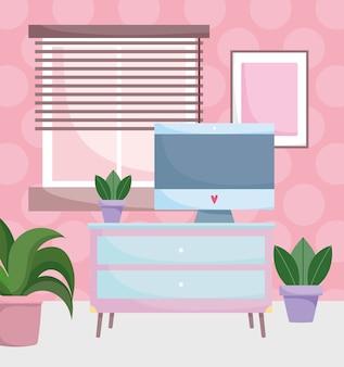 Home-office-arbeitsplatzcomputer auf tisch mit schubladen pflanzt fenster und rahmenraum.