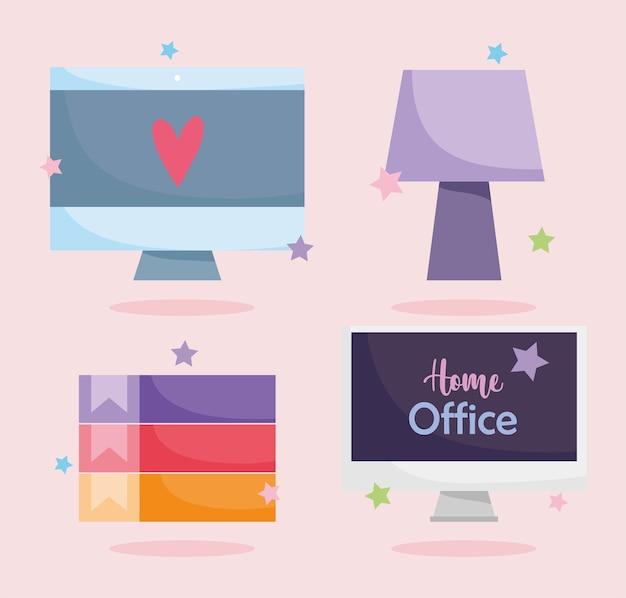 Home-office-computer bildschirm binder lampe vorlage symbole gesetzt
