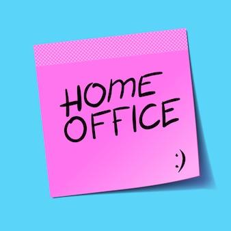 Home office, geschrieben auf rosa post it. zu hause bleiben. arbeit zu hause sensibilisierung social-media-kampagne coronavirus-prävention, selbstisolation. illustration