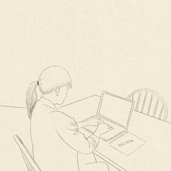 Home-office-hintergrundkarriere in der neuen normalen einfachen strichzeichnung
