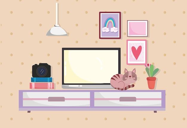 Home office innenbildschirm auf tisch mit katze, kamerabüchern und pflanzenillustration