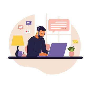 Home-office-konzept, mann, der von zu hause aus arbeitet. student oder freiberufler. freiberufliches oder studierendes konzept. flacher stil.