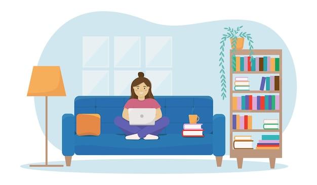 Home-office-konzept mit sofa, bücherregal, lampe, büchern.