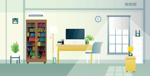 Home office mit arbeitsmitteln und sonnenlicht im fenster