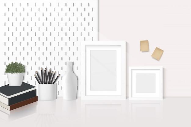 Home-office-schreibtisch, arbeitsbereich mit kopierbereich, schreibwaren, büchern und dekorationen