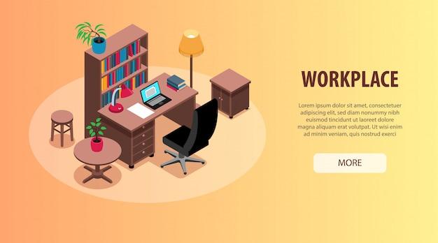 Home-office-studie arbeitsplätze innenorganisation ideen isometrische horizontale web-banner mit schreibtisch bücherregal beleuchtung