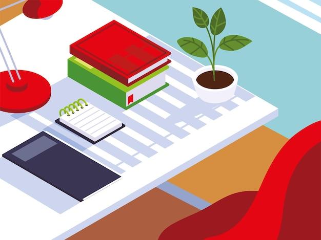 Home office workspace stuhl bücher notebook lampe und pflanze illustration