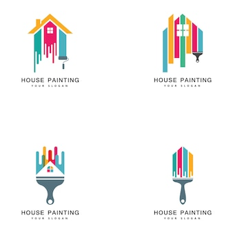 Home painting dekoration und reparaturservice von mehrfarbigen symbolen. vektor-logo-etikett-emblem-design. konzept für den hausbau und die färbung von heimtextilien