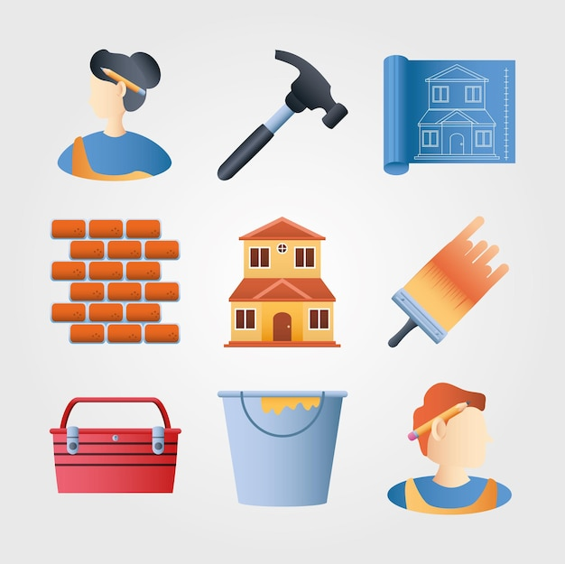 Home remodeling icons set wand ziegel hammer pinsel farbe eimer plan vektor-illustration