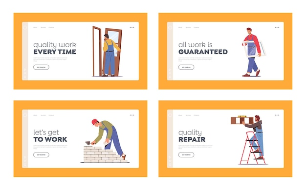 Home repair landing page template set