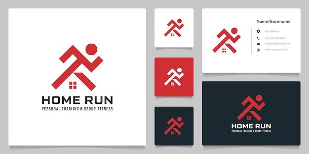 Home run man logo design einfache illustration