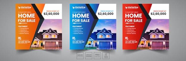 Home sale social banner design-vorlage