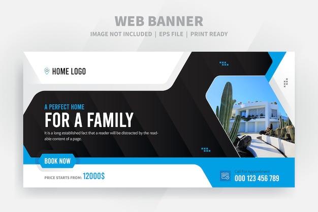 Home sale web-banner oder facebook-cover-vorlage premium-vektor