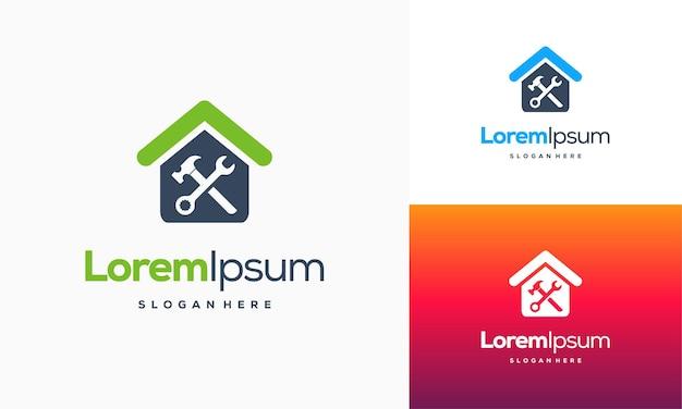 Home services logo entwirft konzeptvektor, home repair logo-vorlage, house service logo-symbol