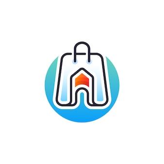 Home shop logo design Premium Vektoren