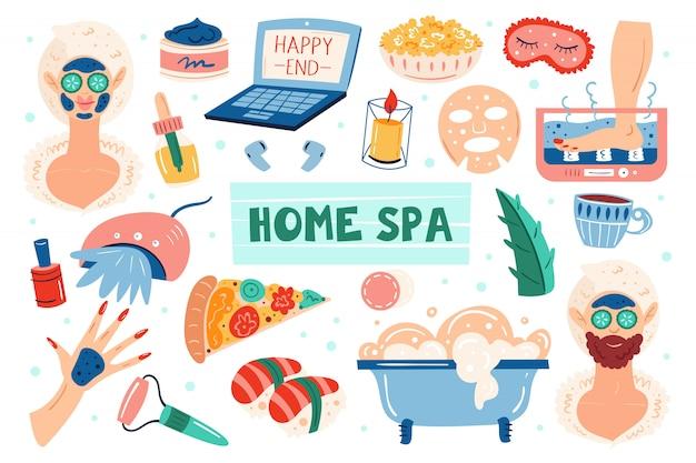 Home spa nacht. frau und mann. schönheitsprozess. fröhliche gute laune, lächle. haut haar gesundheitspflege. erholung, selbstpflege, entspannung, ruhe. badezimmer, dusche. flacher handgezeichneter illustrationssatz