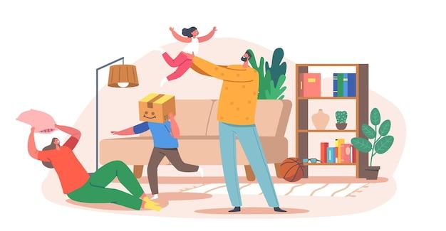 Home-spaß-konzept. glückliche familiencharaktere eltern und kinder spielen, im raum herumalbern. vater, mutter und kinder