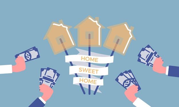 Home sweet home phrase im süßigkeitenhaus. harter zuckerlutscher auf einem stock, hände mit geld, die es kaufen möchten, immobilientraum, hypothekenmarktidee und eigentumsplakat.