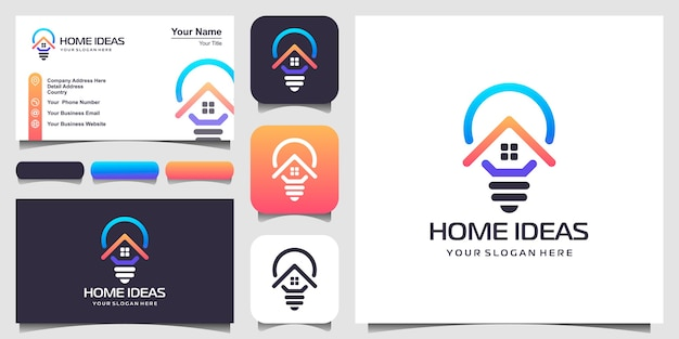 Home und glühbirne lampe logo design-kombination mit line-art-stil