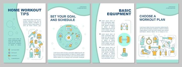 Home workout tipps broschüre vorlage. grundausrüstung. flyer, broschüre, faltblattdruck, umschlaggestaltung mit linearen symbolen.
