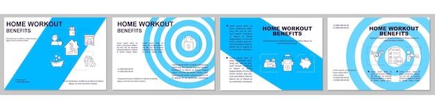 Home workout vorteile broschüre vorlage. pluspunkte für heimtraining. flyer, broschüre, faltblattdruck, umschlaggestaltung mit linearen symbolen.