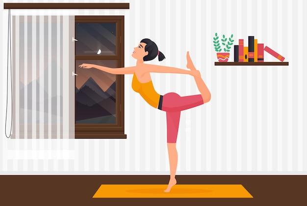 Home yoga pilates-mädchen, das auf yogamatte trainiert, frau, die körper im rauminnenraum ausdehnt