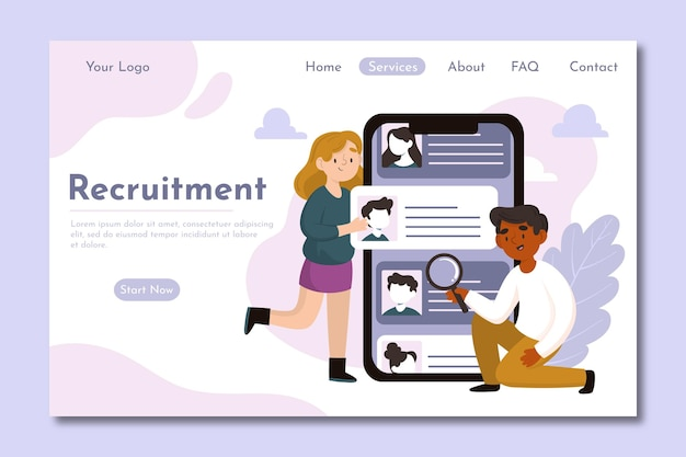 Homepage-vorlage des rekrutierungskonzepts mit abbildungen