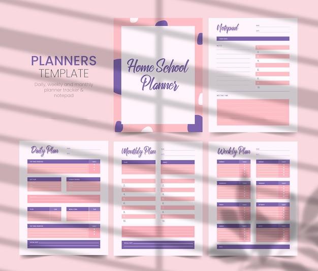 Homeschool planner druckbare vorlage kdp interior Premium Vektoren