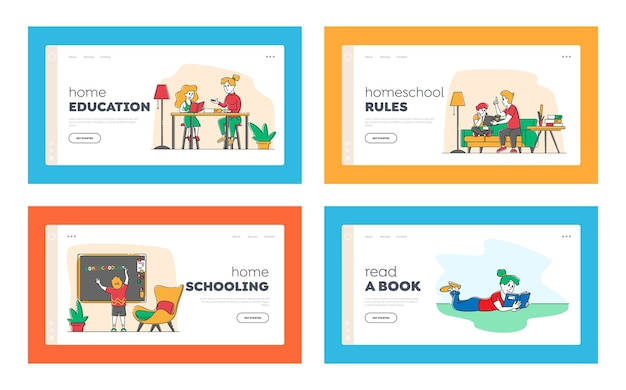 Homeschooling landing page template set.