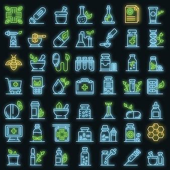 Homöopathie-symbole gesetzt. umrisse von homöopathie-vektorsymbolen neonfarbe auf schwarz