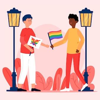 Homophobie-konzept mit person, die gegen hass kämpft