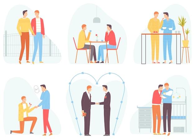Homosexuell paar set romantisches paar männer isoliert auf weißem hintergrundvector illustration inflat style