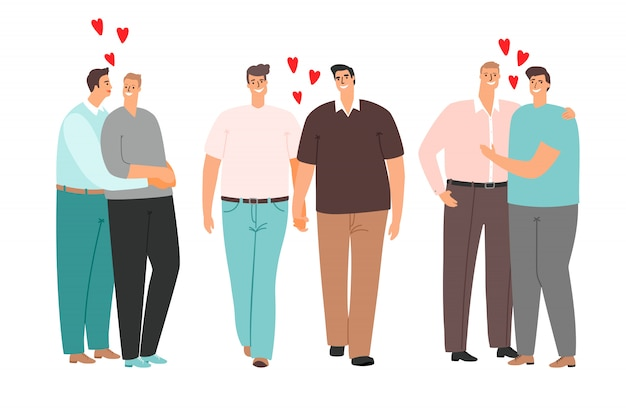 Homosexuelle karikaturpaare lieben und umarmen lokalisiert